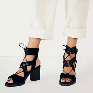 Free People Lennon suede lace up heels